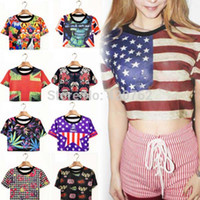 Women V-Neck Short Summer 2014 New Casual Tops For Women Flag Print 9 Patterns Brief Crop Top Midriff Upper Tee T-Shirt