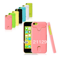 For Apple iPhone Plastic Credit Card Holder 7 colors Fashion Hard Plastic ID Credit Card Holder Case Cover For iphone 5c 1pcs lot Free Shipping