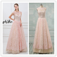 Custom Illusion Evening Prom Dresses Lace Tulle Crew Formal ...