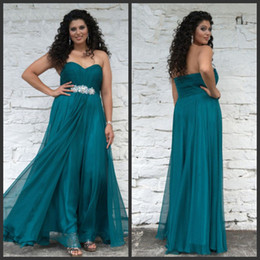 Wholesale 2014 Teal Plus Size Dresses Prom Dresses Angela and Alison W Chiffon Sweetheart Side Zipper Beads Sequin Ruching Sheath Floor Length