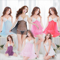 Wholesale New HOT Sale Sexy Women Lace Halter Transparent Erotic Lingerie Deep V Dress Nightgown Sleepwear G String Sets
