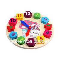 Wholesale Wooden cartoon rabbit digital clock matching the geometry of children s educational toys