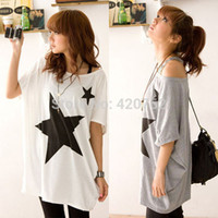 Wholesale 2014 New Summer Oversized Baggy Tops For Women Five point Star Patterns Tee T shirt Plus Size