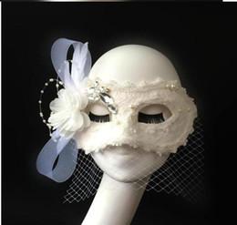 Wholesale 2014 Custom Hot Sale fake makeup beauty mask dance mask white feather princess bride Halloween scene in Venice Italy