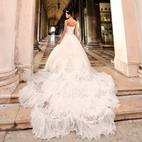 Wholesale Luxurious A Line Wedding Dresses Corset And Bodice Tulle Crystals Pleated Bridal Gowns Ball Gown Ruffles Chapel Train