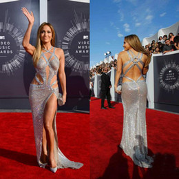 Wholesale 2016 Sequined Luxury Sexy Evening Dresses Jennifer Lopez Affordable Cross Straps Asymmetrical Split Full length Backless Red Carpet Gowns
