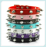 berry dog - Berry one Row Spiked Leather Dog Pet Collars