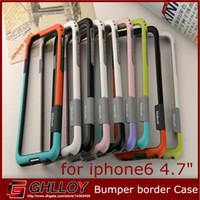 Wholesale Case for iphone Dual Color soft Gel Silicon Frame Bumper border Case Protective cover Cases For New quot iPhone6 i6 iPhone G up
