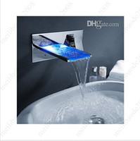 LED finish Ceramic Bathroom Mixer Tap Color Changing LED Waterfall Wall Mount Bathroom Sink Faucet HSA0669