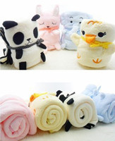 Wholesale Creative cute cartoon panda small elephant figurine coral fleece blanket for children casual small blanket air conditioning blanket roll