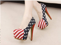 Pumps american flag wedding dress - Denim Cloth American Flag Stars Stripes High Heels Shoes Platform Pumps Stiletto