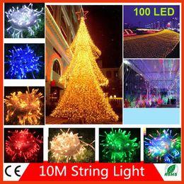 Wholesale RGB M LED String Light V V EU US Plug Cool Warm White Red Green Blue Christmas Wedding Part Lights DHL free