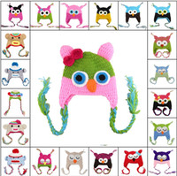 Wholesale 5pcs New Owl EarFlap Crochet Hat Color Baby Kids Wool Weaving Hat Hand woven Baby Hat Knitting Wool Children Hat Animal prints Hat