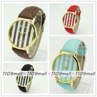 Wholesale 100pcs Geneva Logo Durable Leather strap Analog Women Dress Wristwatch Stylish Vertical Stripe for Round dial watch Alloy watch case
