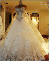 rhinestone applique - Luxury Sweetheart Tulle Wedding Dresses Sexy Shiny Rhinestones Crystal Diamond Lace Appliques Sweep Train Bridal Gowns