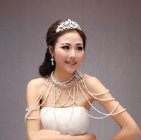 Body Jewerly Faux Pearl Rhinestone New Style Wedding Bridal Bridesmaid Prom Ladies Jewelry Set Crystal Rhinestone Pearls Full Body Shoulder Chain Necklace Collar Wrap Jacket