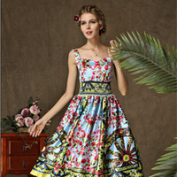 Cheap Casual summer vest Chiffon Dresses European and American fashion retro flower print Free shipping new 2014 Women's Clothing