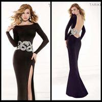 Scoop alluring designs - 2015 Amazing Design Tarik Ediz Bateau Prom Dresses Evening Formal Gown Floor Length Split Side Satin Alluring Applique and Beading Dresses