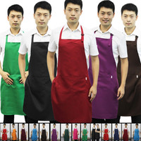 apron lot pocket - pieces Random color CM polyester classic design work apron kitchen apron with pocket couples apron