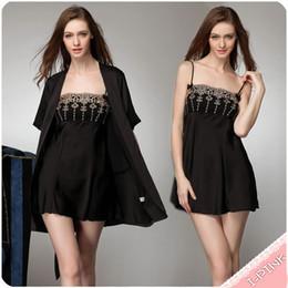 Wholesale Women summer Braces Dress Lingerie Robe Nightgown Robes set M L XL Sexy soft sleepwear robe intimates set