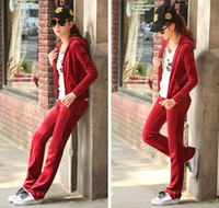 Wholesale Hot Sell Color Option Women s Suits long sleeve Sportwear Velour TrackSuit Hoodie hoody a suit of J7008