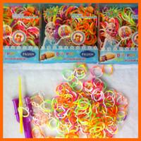 children charm bracelet - Frozen Rainbow Loom Bands Fun DIY Loom Rubber Kit Colorful Bracelets Charm Bracelet For Children Toy Gift