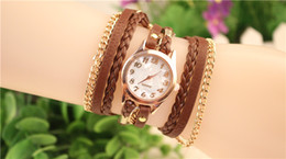 Hot New Women Wrap Watches Lady Leather Wrist Watches Round Dial Charming Bracelets Watches Mix Colors 100pcs DHL Free Shipping