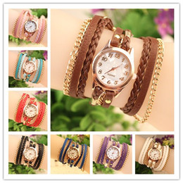 Hot Selling Women Watches Lady Wrap Wrist Watches Round Dial Charming Bracelets Watches Mix 8 Colors Free Shipping Drop Shipping