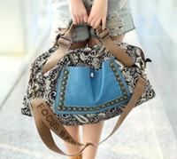 Wholesale Casual fashion women retro canvas bag female big bag handbags women rivet package diagonal package women shoulder bag
