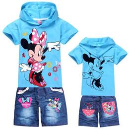 Wholesale Retail Children s suit new girls Clothing Set Kids Minnie Mouse t shirt jeans fashion cartoon clothes Sports suit
