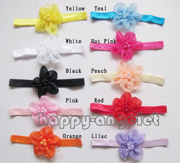 Wholesale 20pcs DIY baby Head Flower handmade nylon organza ribbon flower Hair Accessories satin Mesh pearl flowers with Iridescent headbands SG8546