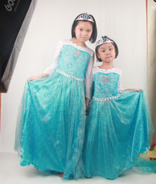 Wholesale Frozen Elsa Blue Dress Princess Girl Short Sleeve Costumes Dresses Cloak Gauze by DHL