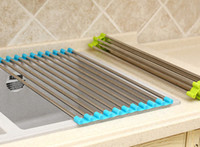 Kitchen Metal ECO Friendly Wholesale - Stainless Steel Roll Draining Rack Kitchen Shelves Sink Arrange Stands Dish Drying Rack