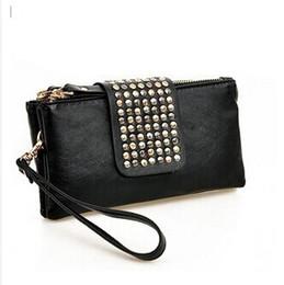 Xmas Promoção PU Leather Rebites dupla Zipper Bag Bolsa Evening Party Bag Bolsa Carteira Envelope Sacos Dia Embreagem