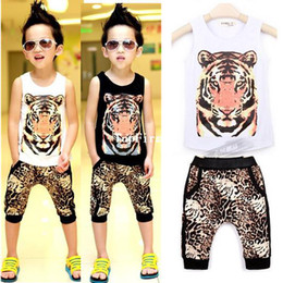 Wholesale Girls boys suits leisure sports fashion set vest harem pants summer new children s clothing suits baby infant wear