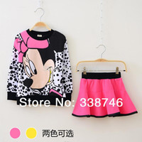Spring / Autumn minnie mouse clothing - Children Clothing Sets Cartoon Minnie Mouse set SportsSuit Costume Outfit Baby Girl Kids Pullover Skirt New Roupas Meninas