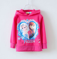 Girl Spring / Autumn Hooded 2014 Children Girls Clothing Kids Frozen Elsa Anna Long Sleeve Hoodies Tops Tee Shirts 3-7Ages Pink Blue Cute Clothes