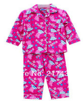 Girl Summer 0-12M Free Shipping! Brand New Peppa Pig girl girls long sleeved top + pants flannel flannelette winter pyjamas pajamas sleepwear pjs
