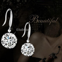Wholesale Shinning Crystal Earings Earrings Bridal Jewelry High Quality Silver Wedding Eardrop Prom Party Event Earbob Evenning Accessories