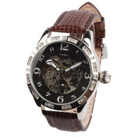Wholesale Oulm Leather Strap Analog Steel Case Sports watches New Crystal dial Skeleton Watch