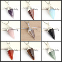 Wholesale Charm Silver Plated Natural mixture Stone Hexagon pyramid Stone Beads Pendant Necklace Jewelry