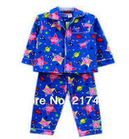 Boy Summer 0-12M free shipping peppa pig george pig long sleeved top + pants flannel flannelette winter pyjamas pajamas sleepwear pjs 7 sets lot