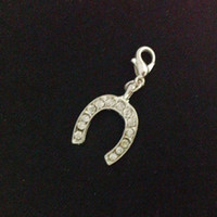 Charms Traditional Charm Animals Metal Alloy Silver Crystal Horseshoe Charms With Lobster Clasp Chamrs Pendants Jewelry
