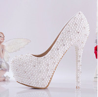 Wholesale New Bride shoes Ivory beautiful Vogue Crystals and Pearl High Heels Wedding Bridal Shoes CM
