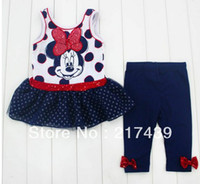 Wholesale children clothing girls Girls Short Sleeve T shirt Leggings suits minnie mouse