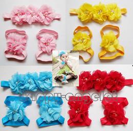 Wholesale Satin Hair Bands Pearls - 72pcs=24 sets Baby handmade Headband Head Flower + Hand feet Flowers combination Accessories satin triple Chiffon pearl Flower Bands ZHT3403