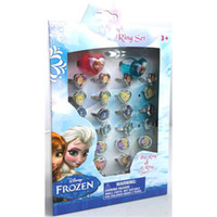 Wholesale Vintage Frozen Gifts Kids Solitaire Ring Cute Latest Child Rings Animation Cartoon Pattern Rings Plastic Jewelry Girls Gifts