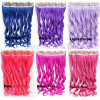 Wholesale colors T16 quot Women Clip in on Hair Ombre Hair Extensions Two Tone Curly Hair Gradient Hair Extension Colorful Hairpieces