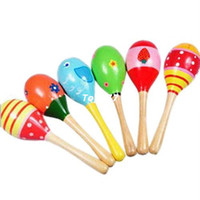 Wholesale pc Kid Baby Wooden Maraca Wood Musical Party Favor Child Shaker Beach Toys New Hot