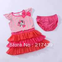 TuTu Summer A-Line Free shipping! Minnie Mouse baby girl girls striped pink sleeveless TUTU outfit dress dresses with underwear 2pcs set